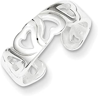 Lex & Lu Sterling Silver Heart Toe Ring LAL23581
