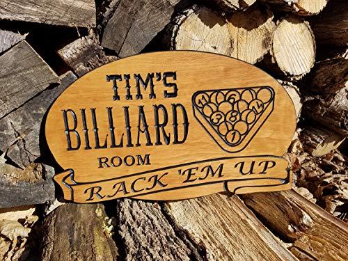 Evan332Eddie Personalisiertes Billard Spielzimmer Saloon Schild Man Cave Sign Custom Pub Sign Holz Billiard Schilder Sprechen Easy Game Room Schilder Schilder 18 x 11