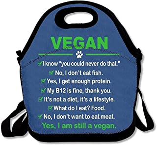JAYESH Vegan I Am Still A Vegan Insulated Neoprene Lunch Bag Tote Handbag Lunchbox Food Container Gourmet Tote Cooler Warm Pouch for School Work Office