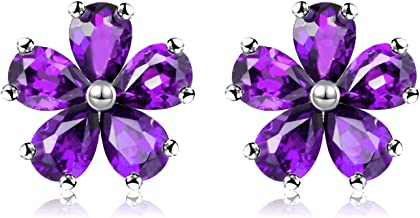 Uloveido Moda Flor Studs Pendientes para Mujeres Niñas Rojo Azul Púrpura Cristal Pendientes de piedras preciosas CR003