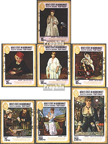 Prophila Collection Aden - Qu´aiti State 131A-137A (kompl.Ausg.) 1967 Gemälde von E. Manet (Briefmarken für Sammler) Malerei