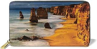 Women's Long Leather Card Holder Purse,Twelve Apostles In Australia Sunset Cliff Washed By Sea Surf Landmark Image,Elegant Clutch Wallet