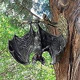 QTQHOME Hängende Fledermaus Figur Baumdekorationen,Harz Bat Garten Statue,Beängstigend Vampir Schlägt Skulptur Halloween Schlägt Dekoration Wandkunst-A 17x6x15.5cm(7x2x6inch)