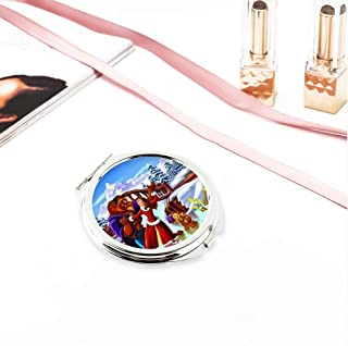 DISNEY COLLECTION Christmas Theme Circular Planar Make-up Mirror Small Beauty and The Beast Enchanted Christmas Button Lock Mirror for Travel Pocket Purse Gift 2.85 Inch