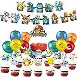 Décoration De Fête, Ballons Bannières Décorations de Gâteaux, Thème Dessin Animé Fête Kit de Fête d'anniversaire pour Enfants