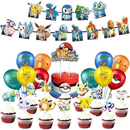 Pokemon Birthday Party Decoration, Globo Pikachu Happy Birthday Banner Cake Topper para Niños y Niños La Decoración de Cumpleaños