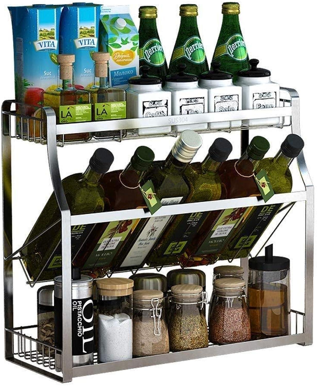 304 Stainless Steel Kitchen Rack Knife Holder Home Multi-Function Oil Salt Sauce Vinegar Storage Condiment Seasoning Shelf ZXMDMZ (Size   35cm)