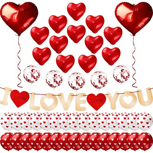 52 Stücke Valentinstag Ballon Banner Dekoration Set enthalten I LOVE YOU Banner und 49 Stücke Herz Latex und Aluminium Folie Luftballons mit 2 Stücke Roten Bändern für Valentine Party