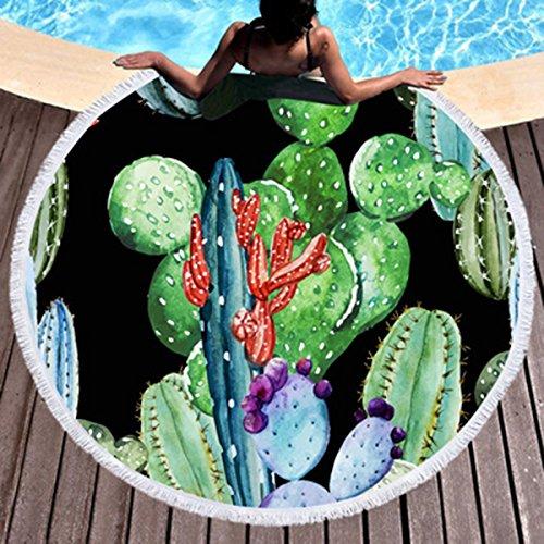 Koongso - Toalla de Playa, diseño de Cactus y suculentos, Color Blanco, Redonda, con Flecos y Flecos
