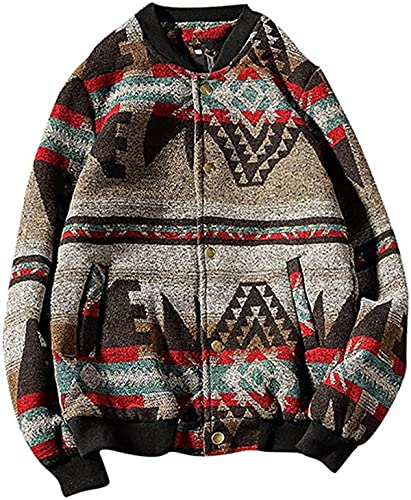 SDWYD Jackets for Men Fashion Autumn Winter National Woolen Large Coat