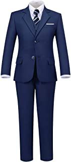 Addneo Boy's Silm Fit Formal Suits 5 Piece with Shirt and Vest