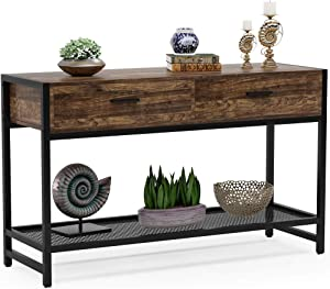 Tribesigns Rustic Sofa Table with Drawers, 47 inch Industrial Console Table Entry Table TV Stand Media Console with Storage Shelves for Living Room, Entryway, Hallway, Foyer