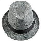 Shanxing Fedora Hut Herren Trilbyhut Panamahut Sonnenhut Hüte Jazz Kappe, 012-Dunkelgrau, one size
