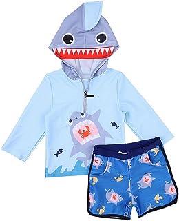Evedaily こども水着  UVカット 日焼け保護 ボイズビーチウエア 温泉着 長袖デザインで肌保護 1-12歳