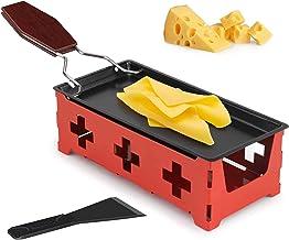 Raclette à fromage - Portable - Pliable - Anti-adhésif - Avec spatule - Pour faire fondre du fromage, du chocolat - Rouge