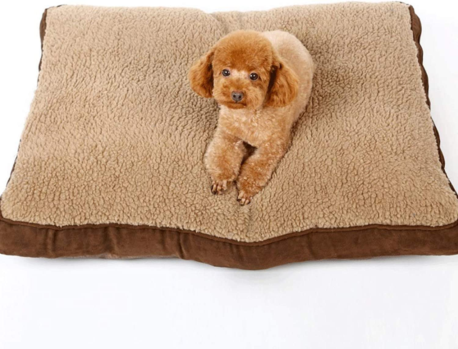 Hongyan Pet Beds Brown Square Thick Lamb Hair Removable And Washable Winter Warm Pet Mat Large Medium And Small Dog Mat A+ (color   BROWN, Size   M (75X60X11CM))
