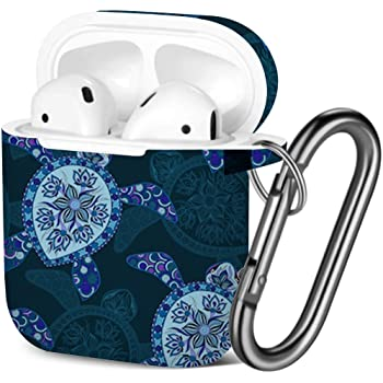Shockproof Soft TPU Gel Case Cover with Keychain Carabiner for Apple AirPods Sea Blue Dolphins Compatible with AirPods 2 and 1