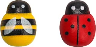 Tiny Wooden Bees Ladybugs Embellishments for Crafts,Self-Adhesive Bumble Bee Decorations for Home,Honey Bee Wall Decor Sti...