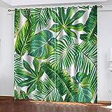 MXYHDZ Cortinas Dormitorio Opacas - Estampado de hojas verdes tropicales...
