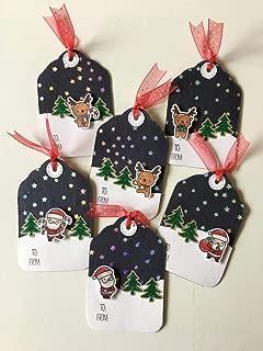 Handmade Christmas Tags - Reindeer Tags - Santa Claus Tags - Gift tag Christmas - Holiday Gift Tags - Handmade Christmas Gift Tags (Set of 9)