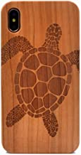 iPhone Xs Max Case, Sea Turtle Pattern Wood Case Handmade Carving Real Wood Case Wooden Case Cover with Soft TPU Back for Apple iPhone Xs Max 6.5 inch (2018)