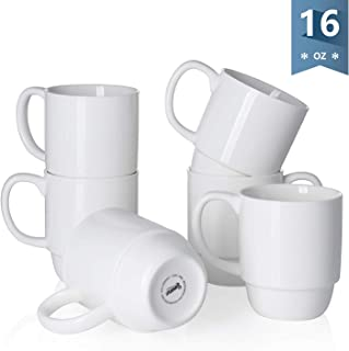 Sweese 605.001 Porcelain Stackable Mug Set – 16 Ounce for Coffee, Tea, Cocoa and..