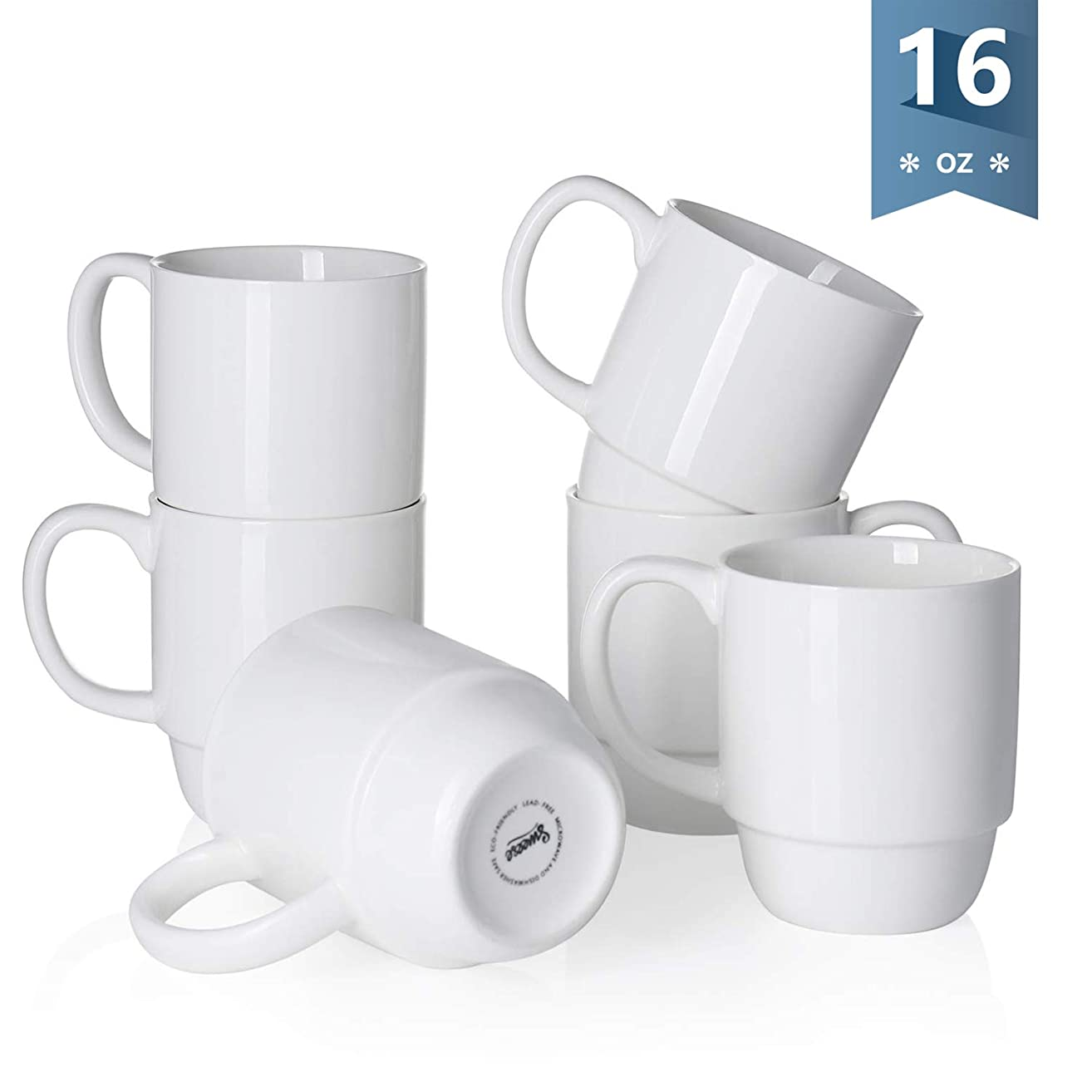 Sweese 6218 Porcelain Stackable Mug Set - 16 Ounce for Coffee, Tea, Cocoa and Mulled Drinks - Set of 6, White