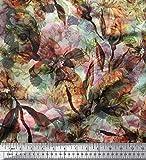 Soimoi Orange Viskose Chiffon Stoff Blumen & Textur Drucken