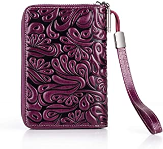 SF Passport Holder,Leather Embossed Document Bag, Multi-Function Passport Bag, Ticket Holder, Passport Protector Storage Bag (Color : Purple)
