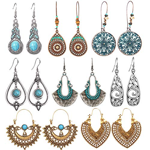 SUNNYOUTH 8 Pairs Vintage Statement Drop Dangle Earrings Bohemian National Style Hollow...