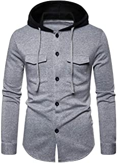 Men's Hooded Sweatshirt Slim Button Coat Jacket Tops Cardigan Outwear Hoodie Sweatshirts