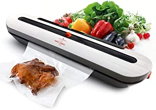 White Dolphin Vacuum Sealer Machine Automatic Vacuum Air Sealing System for Food Preservation Starter Kit Dry Moist Food Modes Sous Vide with Packing Plus 10pcs FREE Vacuum Sealer Bags (Renewed)