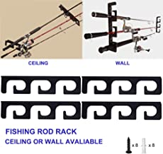 CAIKEI Fishing Rod Rack 2-in-1 Storage for Ceiling or Wall-Ultra Sturdy Strong Weatherproof Indoor and Outdoor Use