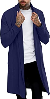 Pacinoble Mens Long Cardigan Open Front Draped Lightweight Cardigan Navy Blue