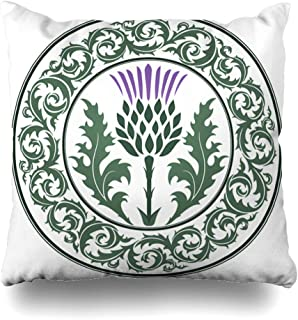 Ahawoso Throw Pillow Cover Green Scottish Thistle Flower Round Leaf Nature Purple Scotland Heraldic Pattern British Celtic Decorative Pillow Case 16x16 Inches Square Home Decor Pillowcase