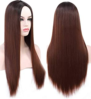 Benegem 24 inch Brown Straight Wig Middle Part Long Synthetic Wig