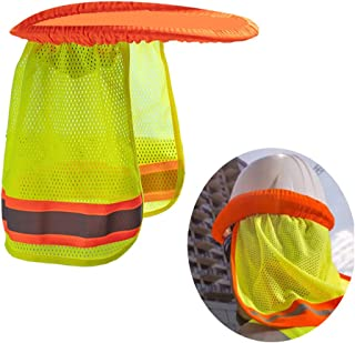 Reflective Hard Hat Sun Shade,Sweatband Set,Hardhat Neck Protector Shade Fits Regular and Full Brim Hardhats Construction Helmets for Construction Landscaping Roofing (Green)