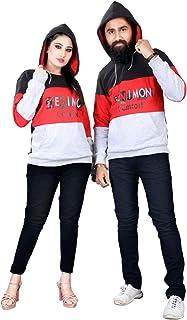 SIGNAMIO Couple King Pullover woolen Sweatshirt Hoodies for Husband Wife Lovers Boyfriend Girlfriend Men Women - 2 Pcs Combo