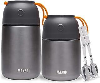 XIAPIA Boîtes Porte Alimentaires Isotherme Set – 500ml +700ml Premium Thermo Isolant Contenant Inoxydable | Conteneur, Réc...