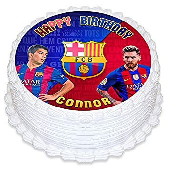 Cakecery FC Barcelona Leo Messi Edible Cake Topper Image Personalized Birthday Sheet Party Decoration Round