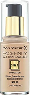 Max Factor FaceFinity All Day Flawless 3 in 1 Foundation 30 ml, Light Ivory 40