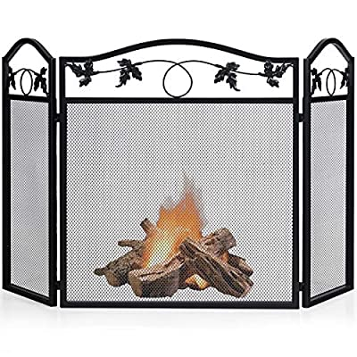 Tangkula 3 Panel Fireplace Screen, Solid Wrought Steel Fireplace Fence w/Decorative Leaf Pattern for Baby or Pet Safe, Folding Spark Guard w/Metal Mesh Cover for Fireplace Panels Accessories from tangkula