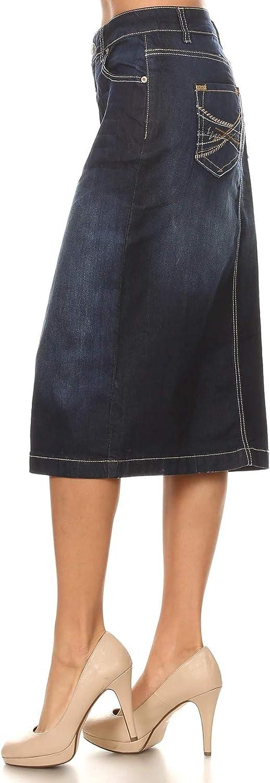 Fashion2Love Women's Juniors/Plus Size Calf - Length Pencil Stretch Denim Skirt (77368)