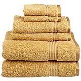 SUPERIOR Luxury Cotton Bath Towel Set - 6-Piece Towel Set, Premium Egyptian Cotton Towels, Gold