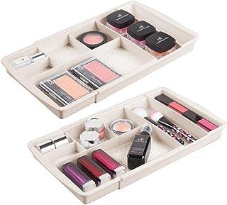 mDesign rangement maquillage (lot de 2) – boîte à maquillage extensible avec compartiments pour le tiroir – rangement make...