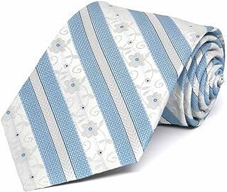 TieMart Boys' Sky Blue Anna Floral Stripe Necktie