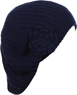 4a3d9545 BYOS Ladies Winter Solid Chic Slouchy Ribbed Crochet Knit Beret Beanie Hat  W/WO Flower