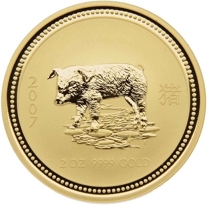 2 oz Australien 2007 Lunar Serie I  Year of the Pig  (Schwein) 2 Unzen 999,9 Goldmünze