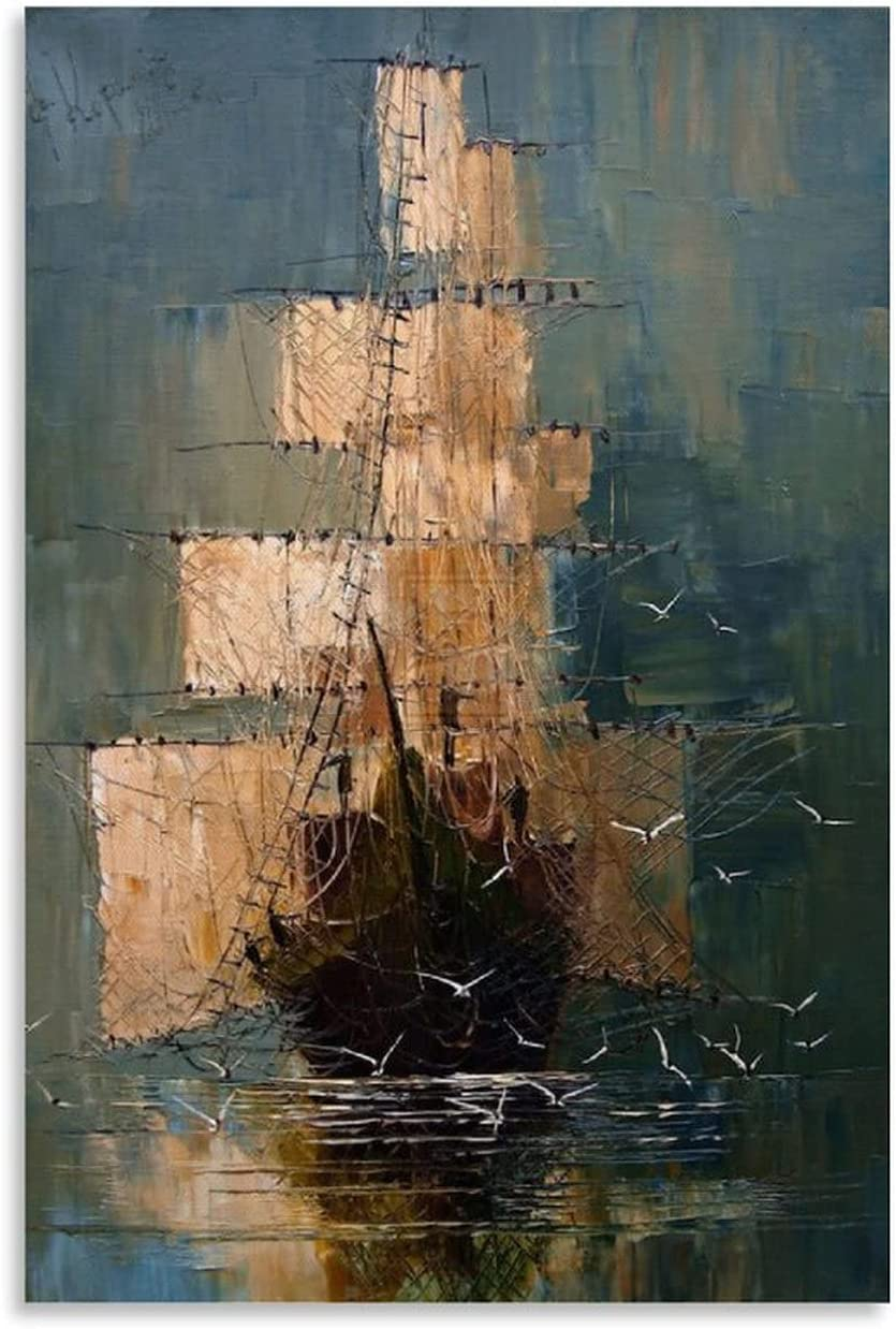 Sailboat Oil Painting ArtPoster Max 68% OFF Store Space Art Oi Decorative