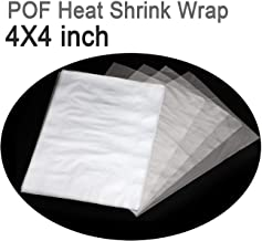 COQOFA POF Heat Shrink Wrap Bags 4x4 inch 250 pcs Clear Non Toxic No Smell Soft Environmental Friendly DIY Sealer Film Thicker 100 Gauge for Soaps Bottles Cookies Crafts DIY Homemade Gifts